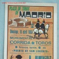 Carteles Toros: CARTEL TOROS MADRID. Lote 16766794