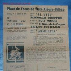 Cartazes Touros: PLAZA TOROS BILBAO. Lote 18807939