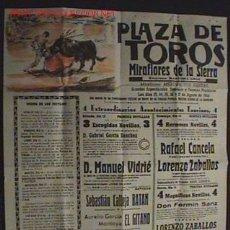 Carteles Toros: ANTIGUO CARTEL DE LA CORRIDA DE TOROS - CELEBRADA EN MIRAFLORES DE LA SIERRA - CELEBRADA EN 1966 - P. Lote 26274650