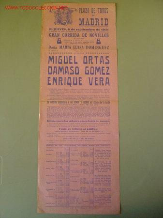 CARTEL TOROS - MADRID - SEPTIEMBRE DE 1951 (Coleccionismo - Carteles Gran Formato - Carteles Toros)