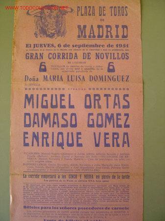 Carteles Toros: CARTEL TOROS - MADRID - SEPTIEMBRE DE 1951 - Foto 2 - 22988725