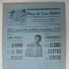 Carteles Toros: CARTEL TOROS - HARO (LOGROÑO) - SEPTIEMBRE DE 1955. Lote 23018195