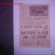 Carteles Toros: PLAZA DE TOROS ONDARA (ANTONIO CARANA EMILIO REDONDO - PEPE OSUNA - LUIS ESCRIBANO ). Lote 26993483