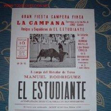 Carteles Toros: CARTEL GRAN FIESTA FINCA CAMPERA NOVIEMBRE 1996 - AMIGOS Y SEGUIDORES DE EL ESTUDIANTE, LEER. Lote 2803717