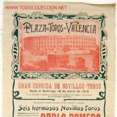 Carteles Toros: CARTEL TOROS VALENCIA , 1916 , CHANITO , VERNIA Y ZARCO . NOVILLOS. Lote 24134678
