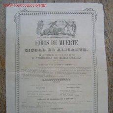Carteles Toros: CARTEL TOROS - ALICANTE - JULIO DE 1864 . Lote 26606292