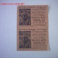 Carteles Toros: CARTEL PLAZA DE TOROS CASTELLON 1959 FIESTAS DE LA MAGDALENA (GALAS DE ARTE CARRUSEL ). Lote 27061876