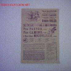 Carteles Toros: PLAZA DE TOROS VALENCIA(PACO PASTOR,PACO CAMINO,MIGUELILLO). Lote 26537563