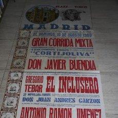 Carteles Toros: CARTEL DE TOROS DE MADRID. MURAL. 10 DE AGOSTO DE 1980. GREGORIO TEBAR EL INCLUSERO. . Lote 22969818