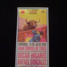 Carteles Toros: CARTEL CORRIDA DE TOROS -LAS VENTAS 2002-. Lote 21110203