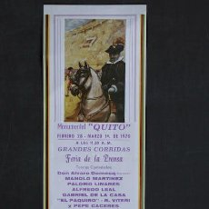 Carteles Toros: CARTEL DE TOROS DE QUITO. ECUADOR.. Lote 24084912