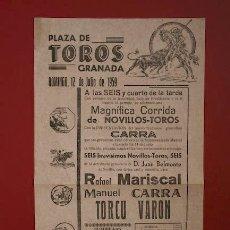 Carteles Toros: CATEL DE TOROS DE GRANADA. . Lote 10800296