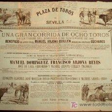 Carteles Toros: CARTEL TOROS SEVILLA 1881, GRAN CORRIDA OCHO 8 TOROS. PEPEL AZUL , ORIGINAL. Lote 24915059