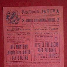 Affissi Tauromachia: CARTEL DE TOROS DE JÁTIVA.. Lote 13678921