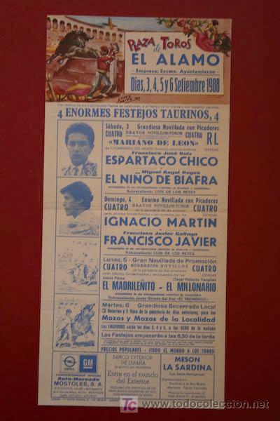 CARTEL DE TOROS DE EL ÁLAMO. (Coleccionismo - Carteles Gran Formato - Carteles Toros)
