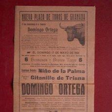 Carteles Toros: CARTEL DE TOROS DE GRANADA.17 DE MAYO DE 1931.NIÑO DE LA PALMA, GITANILLO DE TRIANA Y DOMINGO ORTEGA. Lote 48163171