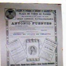 Carteles Toros: PLAZA DE TOROS DE MADRID. GRAN CORRIDA EXTRAORDINARIA. DESPEDIDA ANTONIO FUENTES, BOMBITA, MACHAQUIT. Lote 24480801