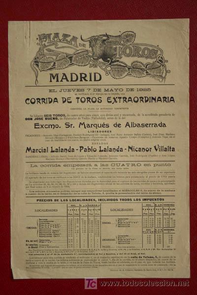 CARTEL DE TOROS DE MADRID. (Coleccionismo - Carteles Gran Formato - Carteles Toros)