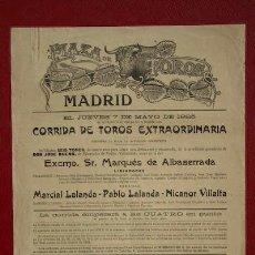 Carteles Toros: CARTEL DE TOROS DE MADRID.. Lote 21609519