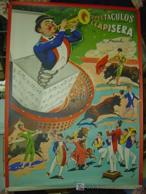 CARTEL TOROS - ESPECTACULOS LLAPISERA - ILUSTRADOR: DONAT - AÑOS 1950-60 - LITOGRAFIA (Coleccionismo - Carteles Gran Formato - Carteles Toros)