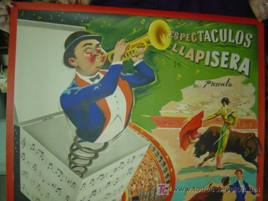 Carteles Toros: CARTEL TOROS - ESPECTACULOS LLAPISERA - ILUSTRADOR: DONAT - AÑOS 1950-60 - LITOGRAFIA - Foto 2 - 176813134