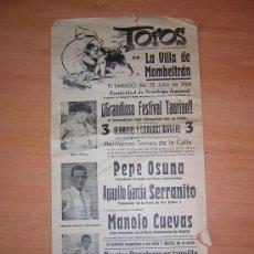 Carteles Toros: PLAZA DE TOROS DE LA VILLA DE MOLMENTRAN 1964. Lote 27598315