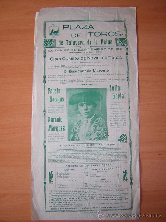 PLAZA DE TOROS DE TALAVERA DE LA REINA 1921 (Coleccionismo - Carteles Gran Formato - Carteles Toros)