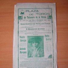Carteles Toros: PLAZA DE TOROS DE TALAVERA DE LA REINA 1921. Lote 27534108
