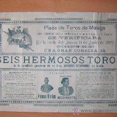 Carteles Toros: PLAZA DE TOROS DE MALAGA 1903. Lote 26957828