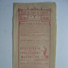 Carteles Toros: CARTEL TOROS - REQUENA (VALENCIA) - AÑO 1908. Lote 26971450