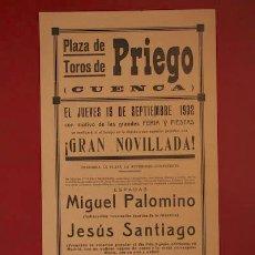 Carteles Toros: CARTEL DE TOROS DE PRIEGO. CUENCA.. Lote 26557992