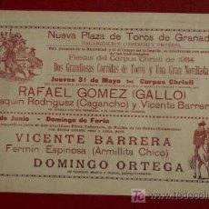 Carteles Toros: CARTEL DE TOROS DE GRANADA. CORPUS 1934. ARMILLITA CHICO. CAGANCHO, RAFAEL GÓMEZ GALLO, ETC.. Lote 12366467