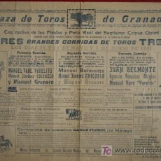 Carteles Toros: CARTEL DE TOROS DE GRANADA. CORPUS. VARELITO, CHICUELO, MANUEL GRANERO, JUAN BELMONTE, ETC.. Lote 17053939