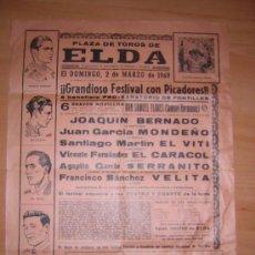 Cartazes Touros: PLAZA DE TOROS DE ELDA 1969. Lote 27620335