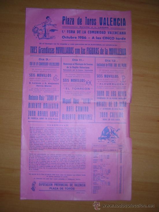 PLAZA DE TOROS DE VALENCIA 1986 (Coleccionismo - Carteles Gran Formato - Carteles Toros)
