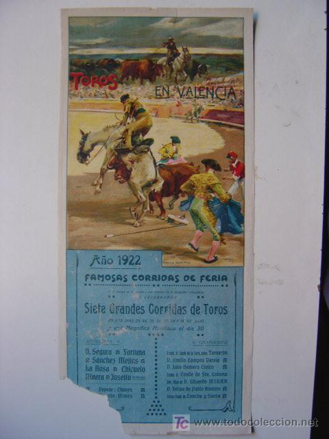 CARTEL TOROS - VALENCIA - JULIO DE 1922 - ILUSTRADOR: ROBERTO DOMINGO (Coleccionismo - Carteles Gran Formato - Carteles Toros)
