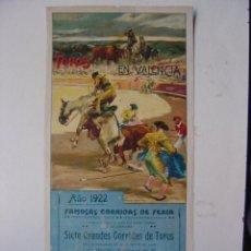 Carteles Toros: CARTEL TOROS - VALENCIA - JULIO DE 1922 - ILUSTRADOR: ROBERTO DOMINGO. Lote 22974664