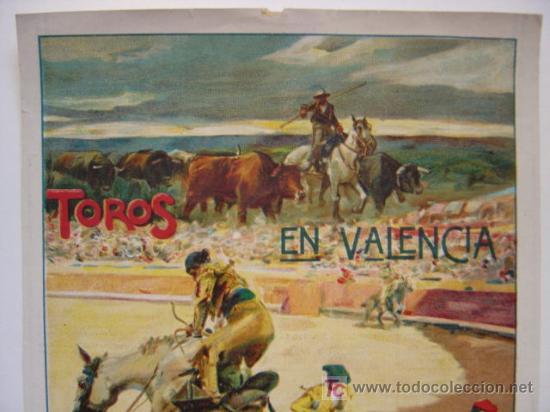 Carteles Toros: CARTEL TOROS - VALENCIA - JULIO DE 1922 - ILUSTRADOR: ROBERTO DOMINGO - Foto 2 - 22974664