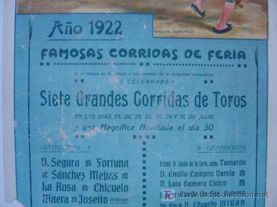 Carteles Toros: CARTEL TOROS - VALENCIA - JULIO DE 1922 - ILUSTRADOR: ROBERTO DOMINGO - Foto 4 - 22974664