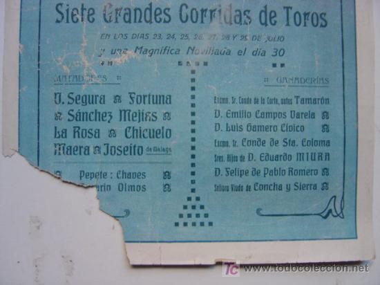 Carteles Toros: CARTEL TOROS - VALENCIA - JULIO DE 1922 - ILUSTRADOR: ROBERTO DOMINGO - Foto 5 - 22974664