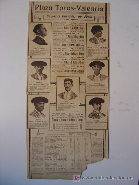 Carteles Toros: CARTEL TOROS - VALENCIA - JULIO DE 1922 - ILUSTRADOR: ROBERTO DOMINGO - Foto 6 - 22974664