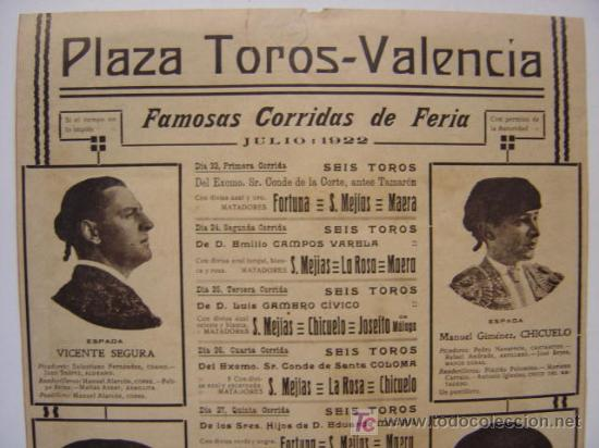 Carteles Toros: CARTEL TOROS - VALENCIA - JULIO DE 1922 - ILUSTRADOR: ROBERTO DOMINGO - Foto 7 - 22974664