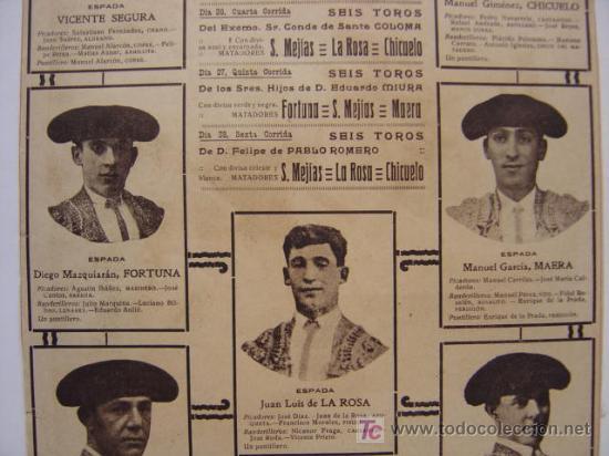 Carteles Toros: CARTEL TOROS - VALENCIA - JULIO DE 1922 - ILUSTRADOR: ROBERTO DOMINGO - Foto 8 - 22974664