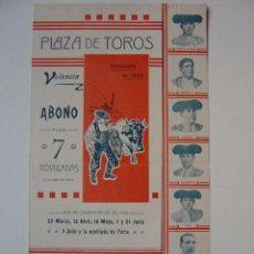 Carteles Toros: CARTEL TOROS - VALENCIA - ABONO PARA LA TEMPORADA DE 1908. Lote 16192329