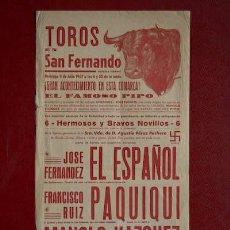 Carteles Toros: CARTEL DE TOROS DE SAN FERNANDO.. Lote 11604703