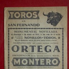 Carteles Toros: CARTEL DE TOROS DE SAN FERNANDO.. Lote 11605204