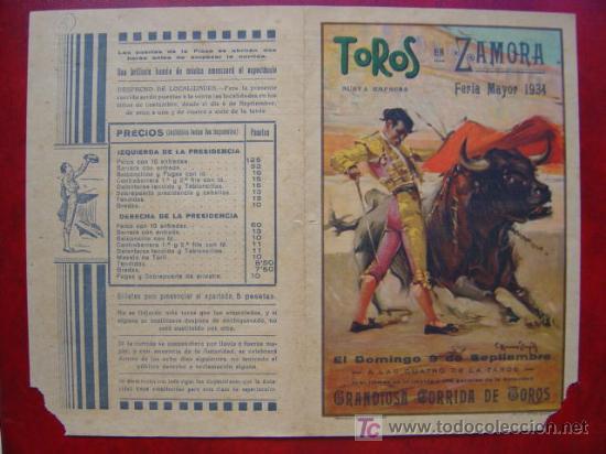 PROGRAMA-CARTEL TOROS - ZAMORA - ILUSTADOR: RUANO LLOPIS - AÑO 1934 (Coleccionismo - Carteles Gran Formato - Carteles Toros)