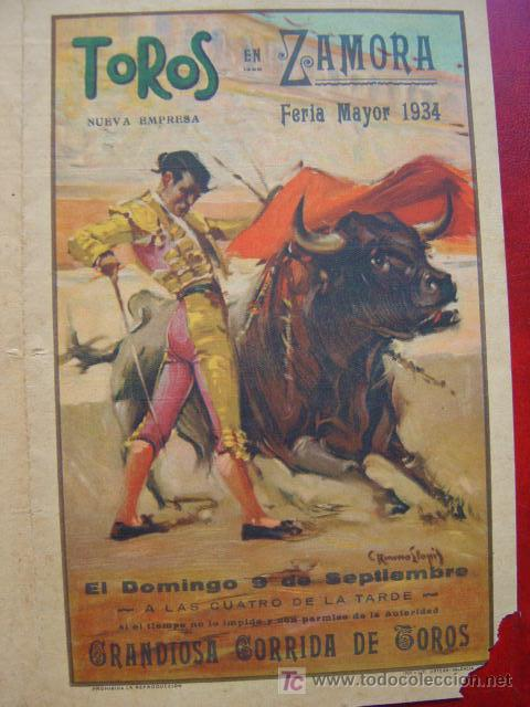 Carteles Toros: PROGRAMA-CARTEL TOROS - ZAMORA - ILUSTADOR: RUANO LLOPIS - AÑO 1934 - Foto 2 - 16439280