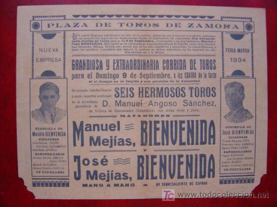 Carteles Toros: PROGRAMA-CARTEL TOROS - ZAMORA - ILUSTADOR: RUANO LLOPIS - AÑO 1934 - Foto 4 - 16439280