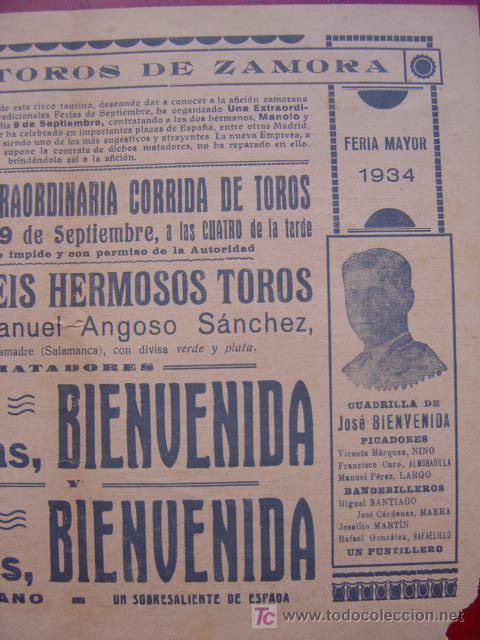 Carteles Toros: PROGRAMA-CARTEL TOROS - ZAMORA - ILUSTADOR: RUANO LLOPIS - AÑO 1934 - Foto 6 - 16439280